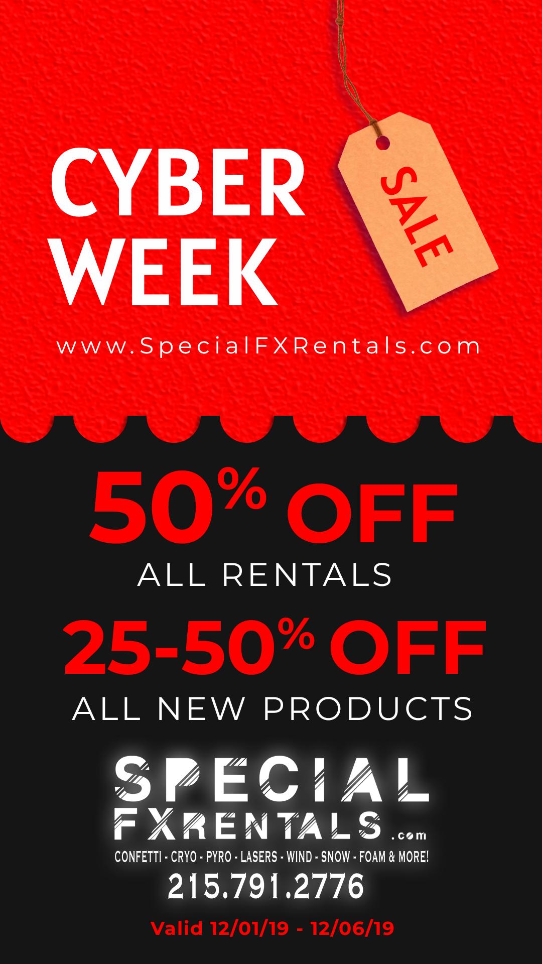 Special FX Rentals Cyber Week Sale