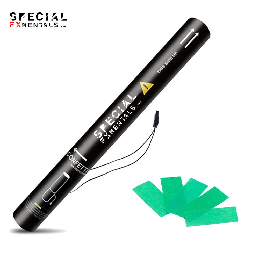 Green Rectangle Tissue Confetti Electric Confetti Shooter E-Cartridge Special FX Rentals