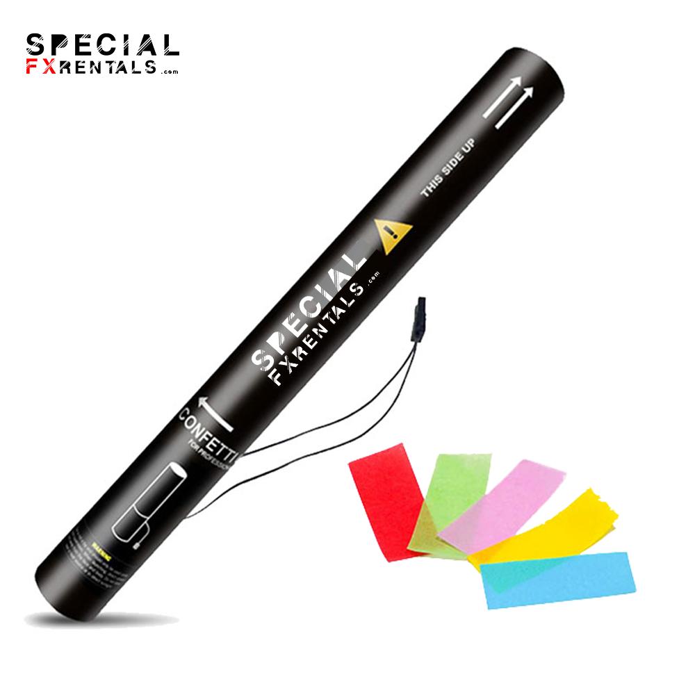Multicolor Rectangle Tissue Confetti Electric Confetti Shooter E-Cartridge Special FX Rentals