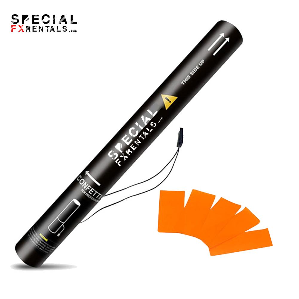 Orange Rectangle Tissue Confetti Electric Confetti Shooter E-Cartridge Special FX Rentals