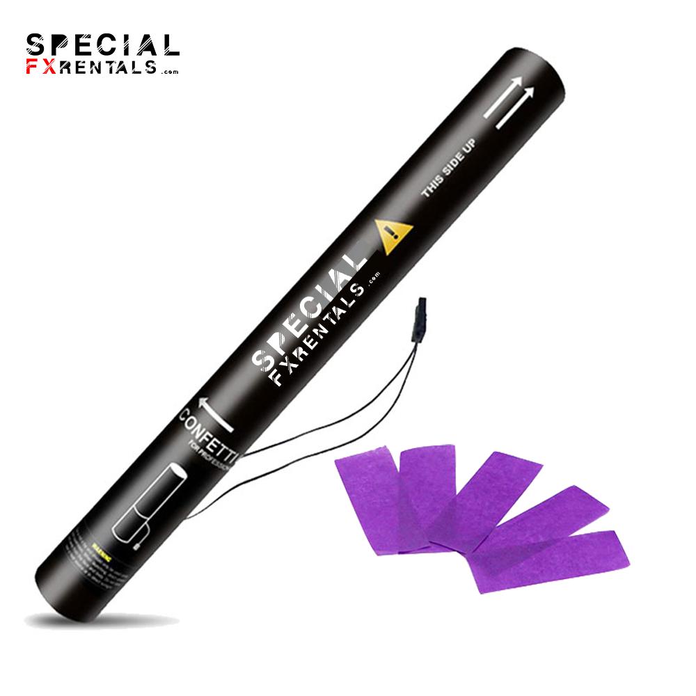 Purple Rectangle Tissue Confetti Electric Confetti Shooter E-Cartridge Special FX Rentals